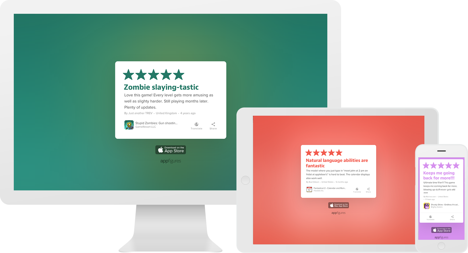 Share app store reviews with Review Cards from appFigures