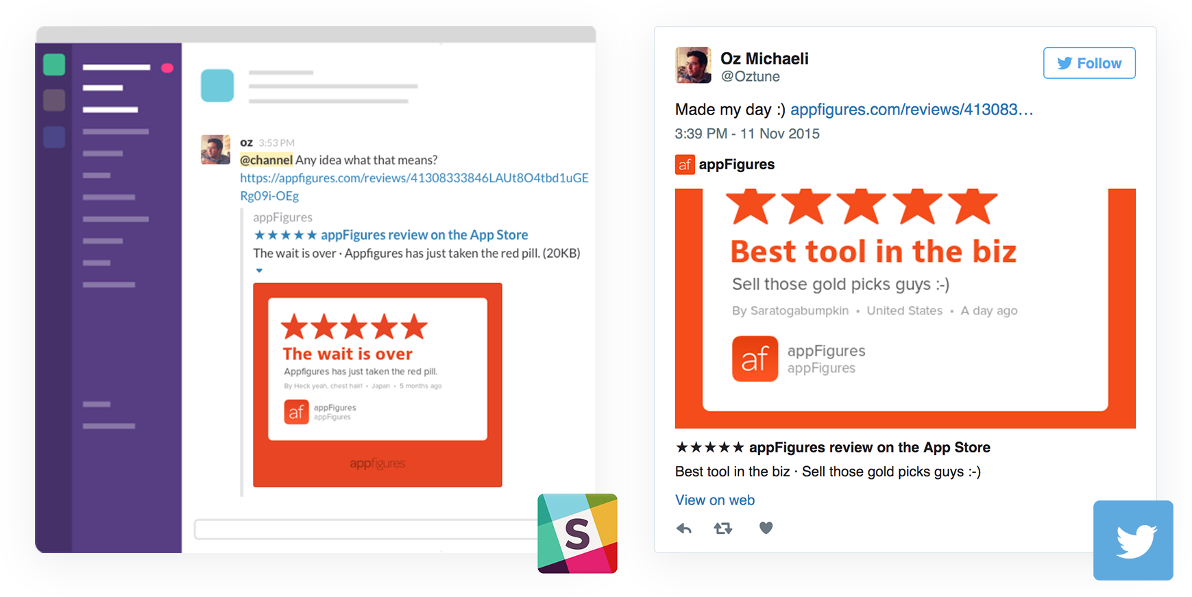 Share app store reviews to Slack, Twitter, and other social networks using Review Cards from appFigures