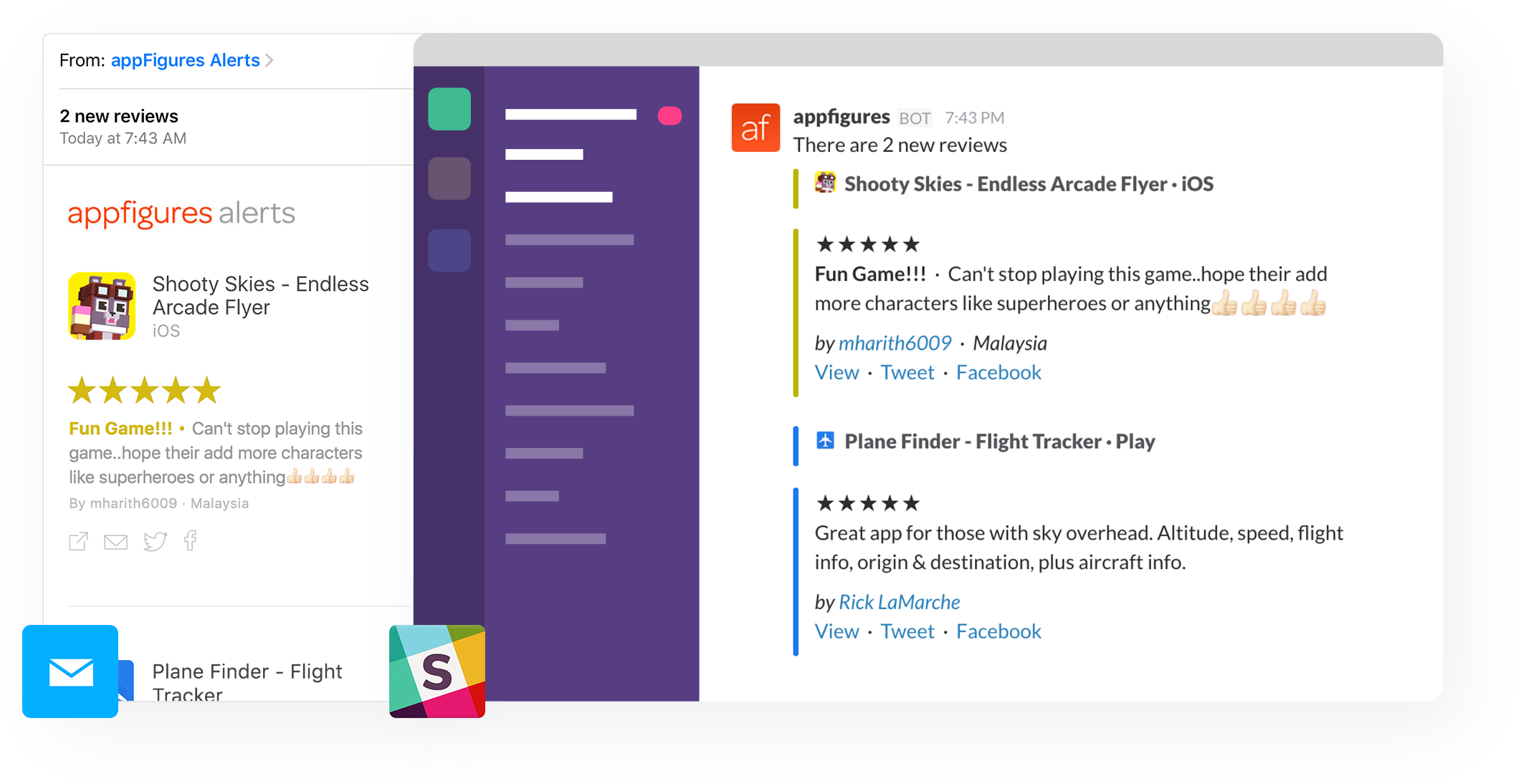 App reviews sent automatically by email and to Slack