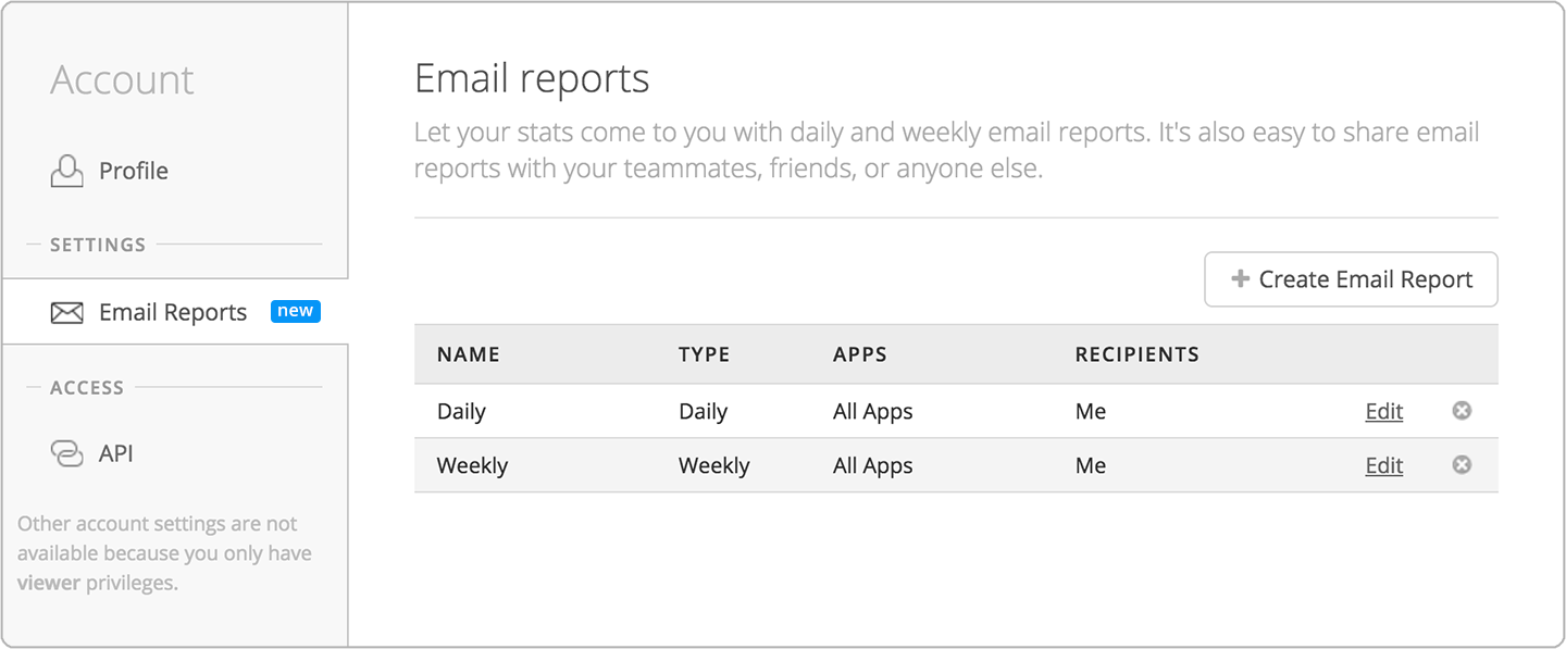 Email reports for your mobile apps