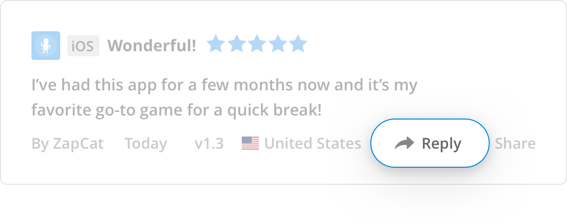 Reply to reviews without iTunes Connect